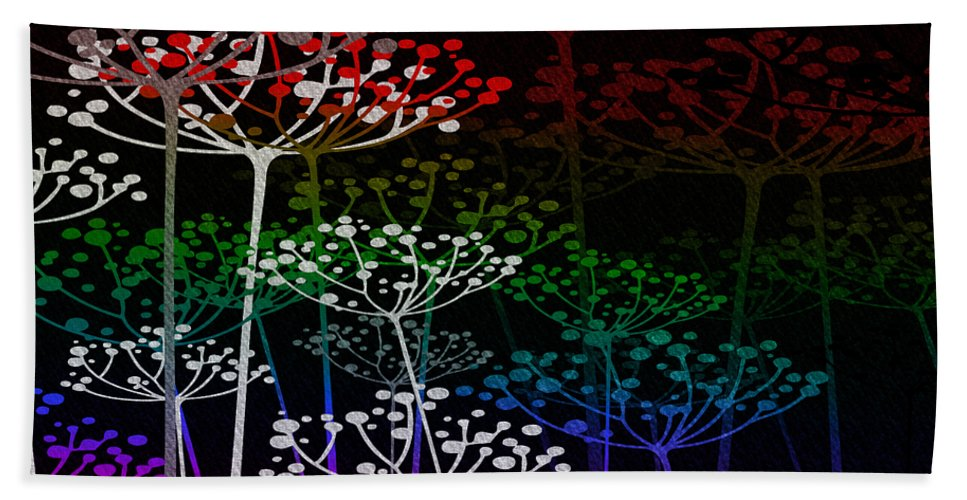 Fred Mefeely Rogers Hand Towel featuring the mixed media The Garden Of Your Mind Rainbow 3 by Angelina Vick
