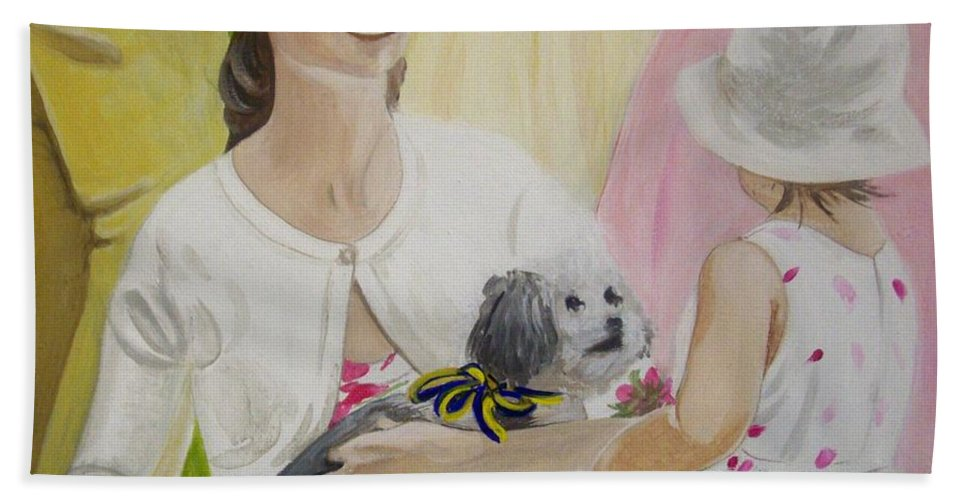 Composition Bath Sheet featuring the painting The Garden Party by Rosemarie Temple-Smith
