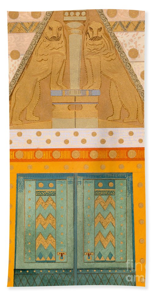 The Gateway Of Troy Hand Towel featuring the painting The Gateway Of Troy by Francois-Louis Schmied