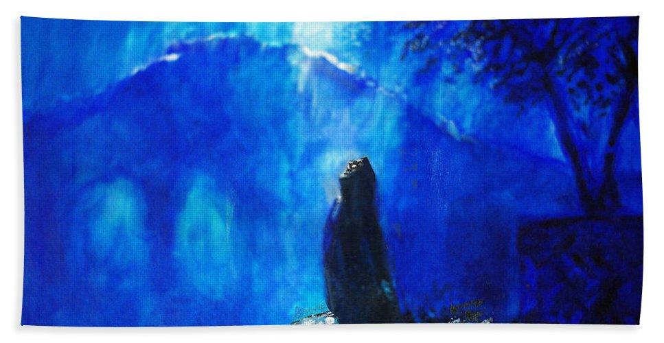 The Gethsemane Prayer Bath Towel featuring the painting The Gethsemane Prayer by Seth Weaver