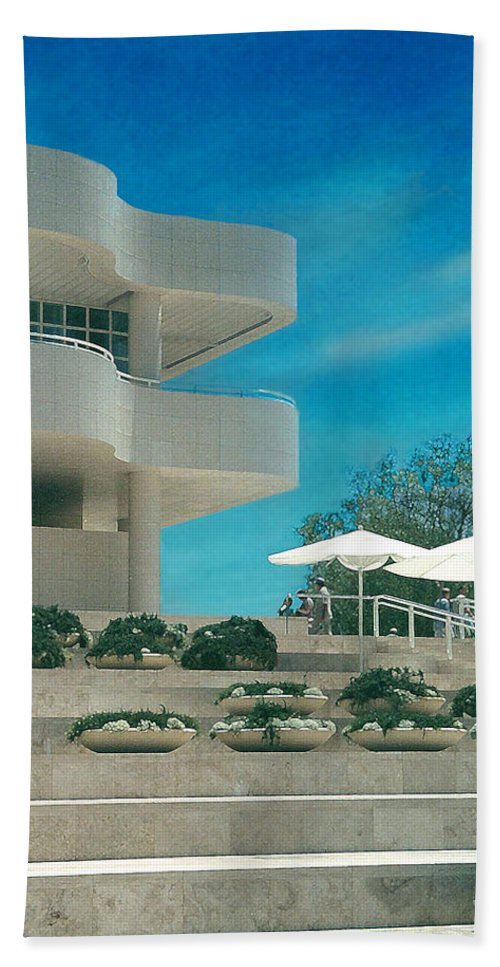 Landscape Hand Towel featuring the photograph The Getty Panel 1 by Steve Karol