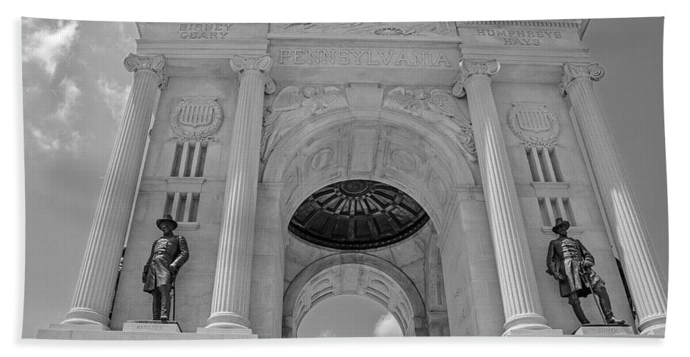 The Gettysburg Pennsylvania State Memorial Bath Sheet featuring the photograph The Gettysburg Pennsylvania State Memorial 3 by Susan McMenamin