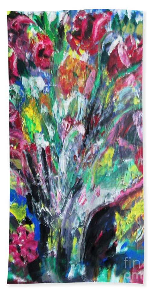 Flowers Hand Towel featuring the painting The Gift by Janet Lilethia Harvey