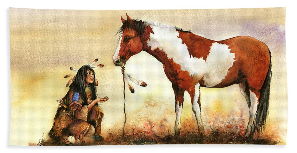 Pony Hand Towel featuring the painting The Gift by Peter Williams