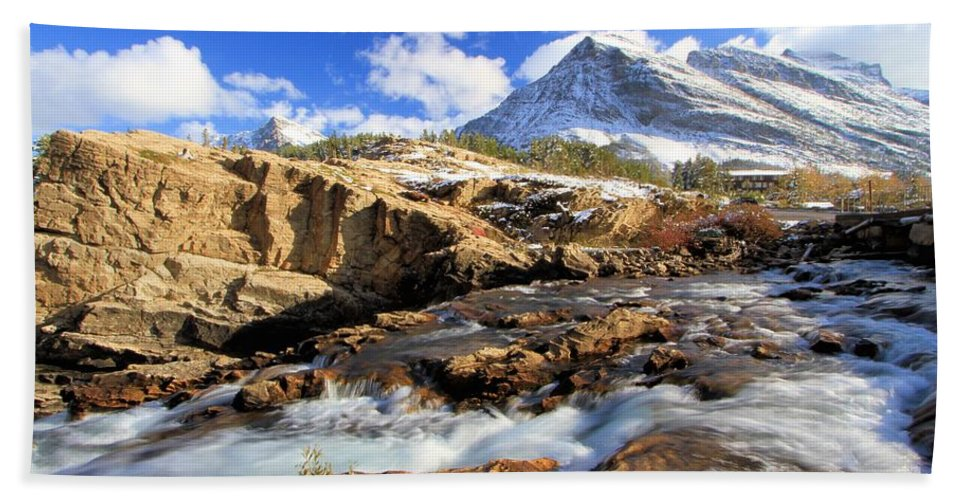 Glacier National Park Hand Towel featuring the photograph The Glacier Rush by Adam Jewell