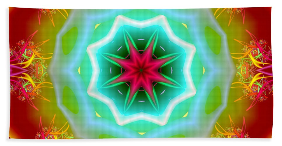 Ultra Fractal Hand Towel featuring the digital art The Glow Of Knowledge by Mario Carini