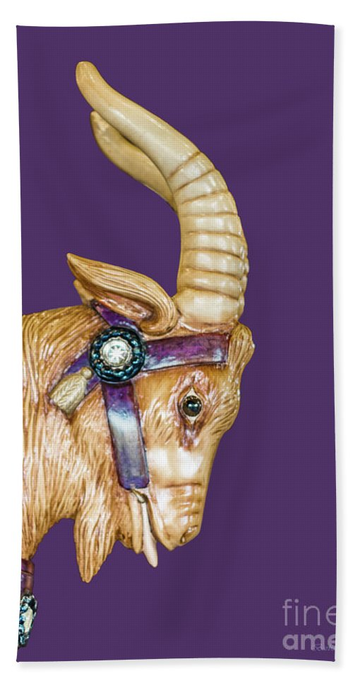 Carousel Hand Towel featuring the photograph The Goat Who Likes Purple by Barbara McMahon