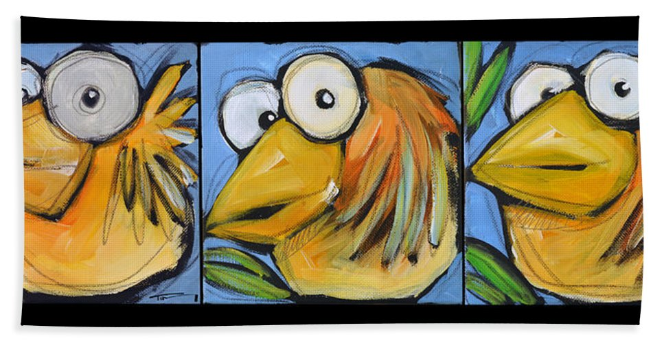 Bird Hand Towel featuring the painting The Goldbird Trio by Tim Nyberg