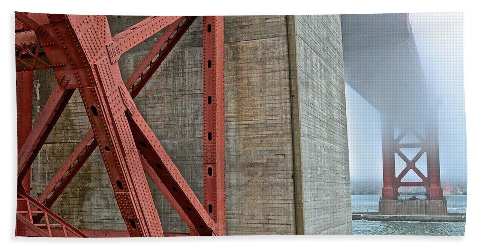 Golden Gate Bath Sheet featuring the photograph The Golden Gate - Fort Point View by Bill Owen