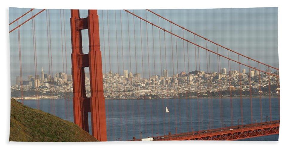 Golden Gate Bridge Hand Towel featuring the photograph The Golden Gate by Jacklyn Duryea Fraizer