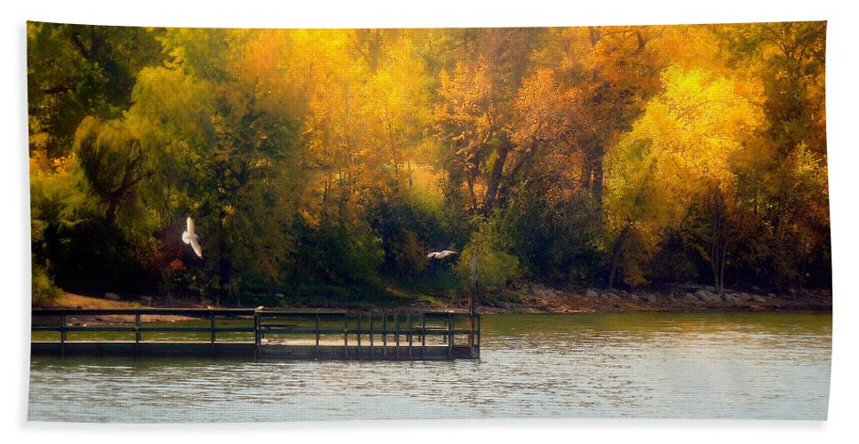 Water Hand Towel featuring the photograph The Golden Hour by Lucinda Walter