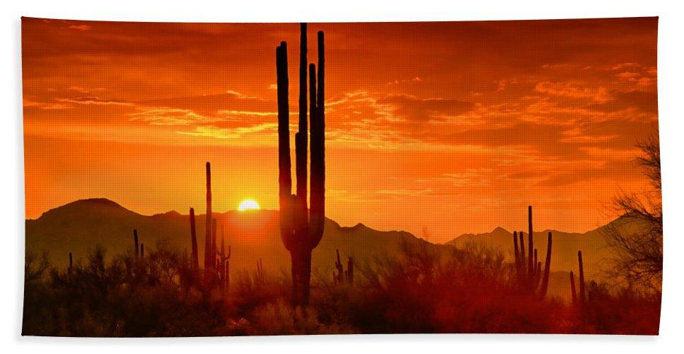 Sunset Bath Towel featuring the photograph The Golden Southwest Skies by Saija Lehtonen