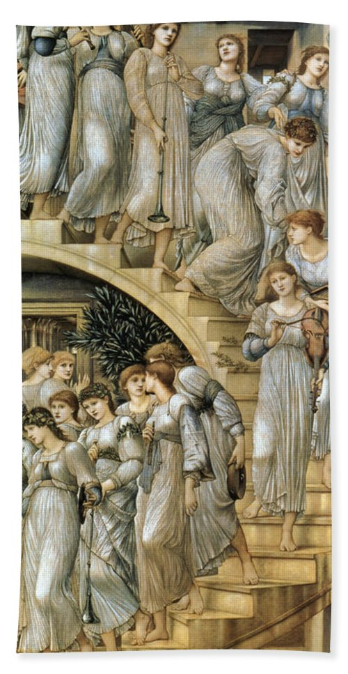 The Golden Stairs Bath Sheet featuring the digital art The Golden Stairs by Edward Burne Jones