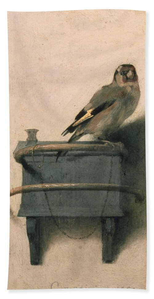 Bird Bath Towel featuring the painting The Goldfinch by Carel Fabritius