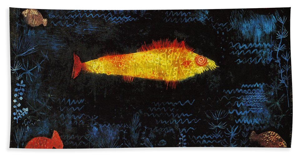 Paul Klee Hand Towel featuring the painting The Goldfish by Paul Klee