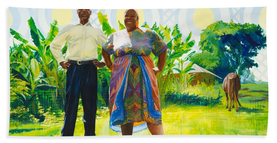 Africa Bath Sheet featuring the painting The Good Life by Lynn Hansen