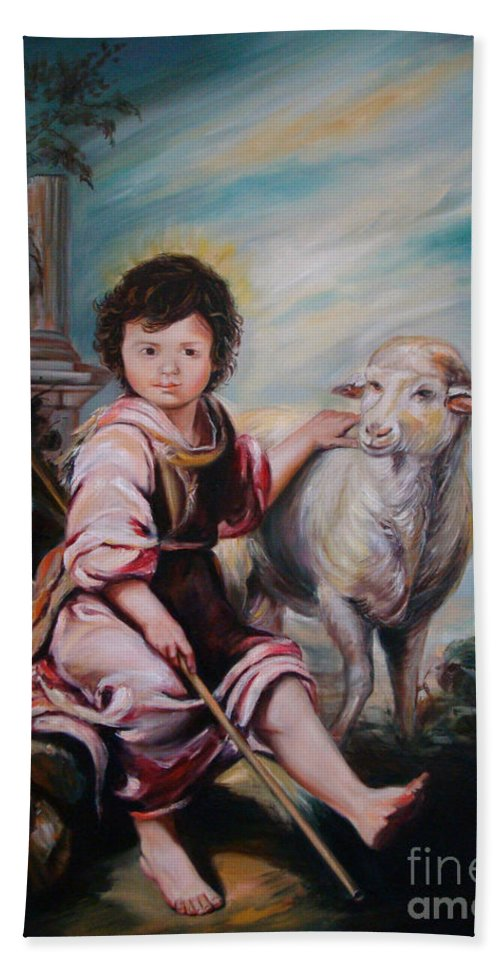 Classic Art Hand Towel featuring the painting The Good Shepherd by Silvana Abel
