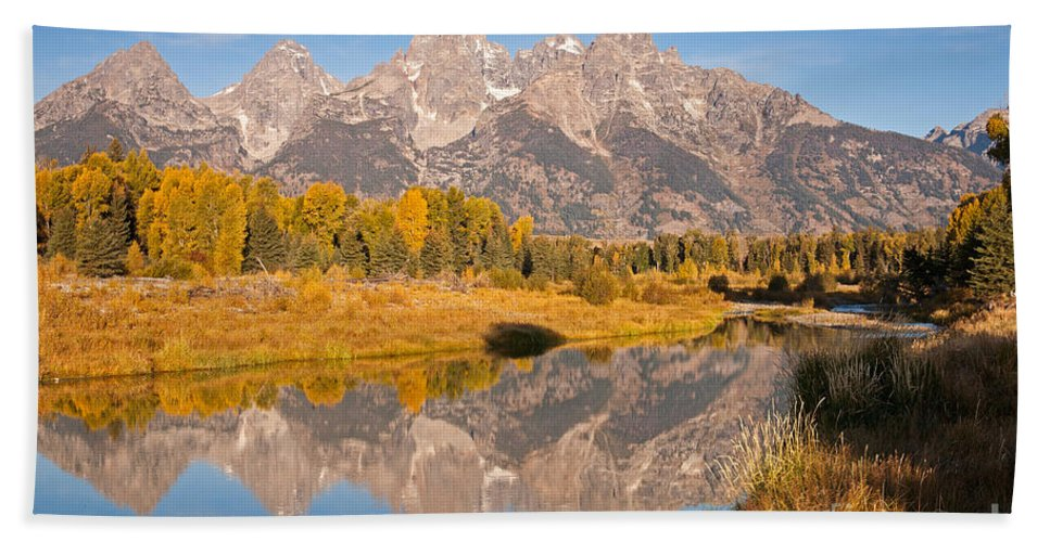 Grand Teton Np Bath Sheet featuring the photograph The Grand Tetons At Schwabacher Landing Grand Teton National Park by Fred Stearns
