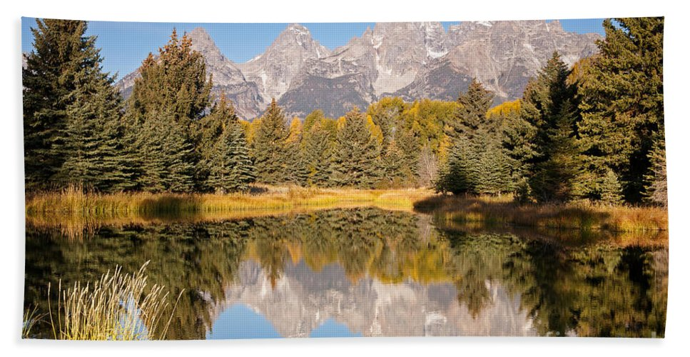 Grand Teton Np Bath Sheet featuring the photograph The Grand Tetons Schwabacher Landing Grand Teton National Park by Fred Stearns