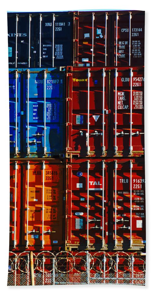 Container Hand Towel featuring the photograph The Great Wall Of Christchurch by Steve Taylor