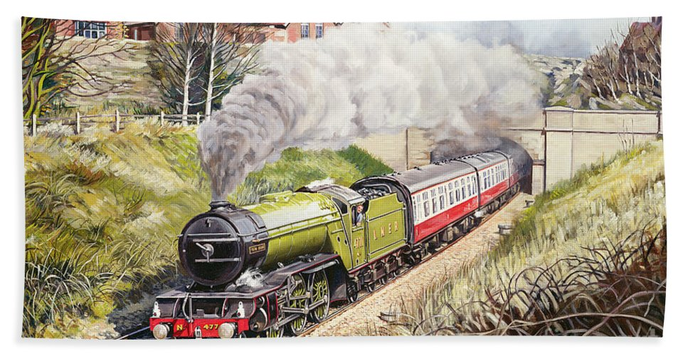 Train Bath Towel featuring the painting The Green Arrow by David Nolan