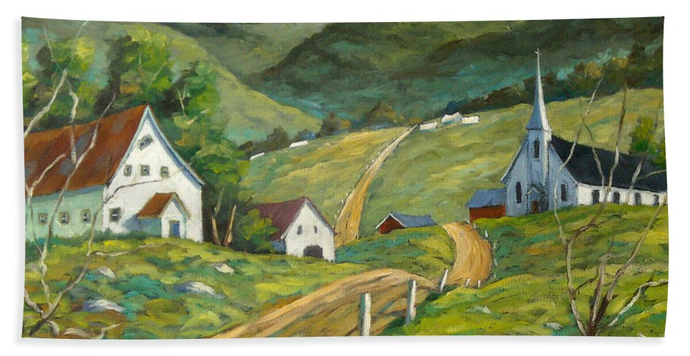 Hills Bath Towel featuring the painting The Green Hills by Richard T Pranke
