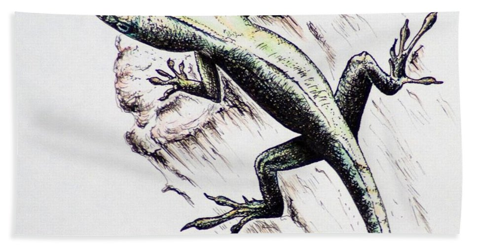 Ink Sketch Bath Towel featuring the drawing The Green Lizard by Katharina Filus