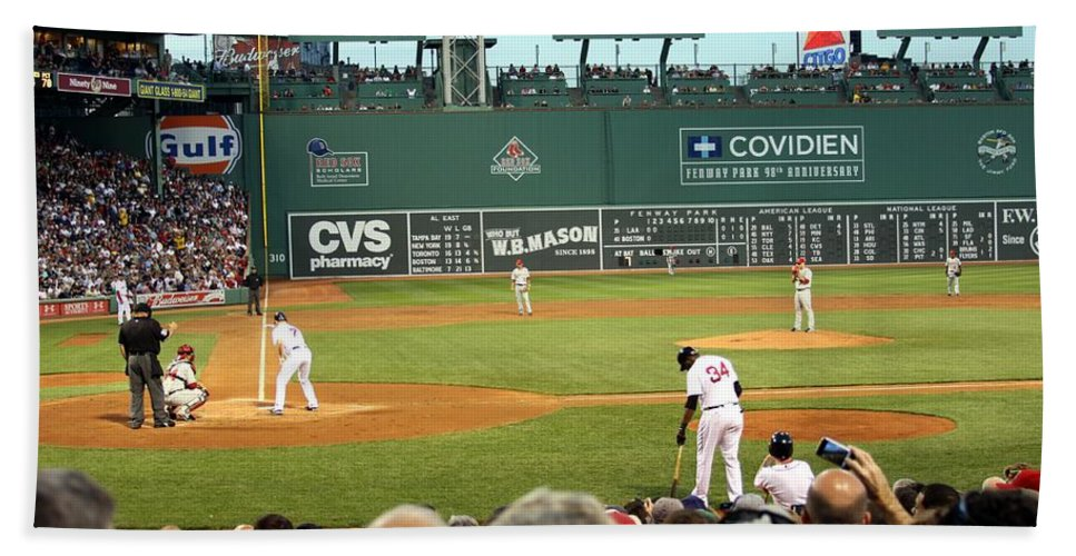 Fenway Park Bath Sheet featuring the photograph The Green Monster by Christopher Miles Carter