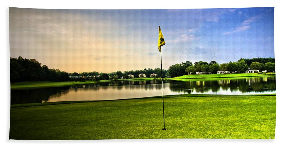 Golf Course Bath Sheet featuring the photograph The Green by Scott Pellegrin