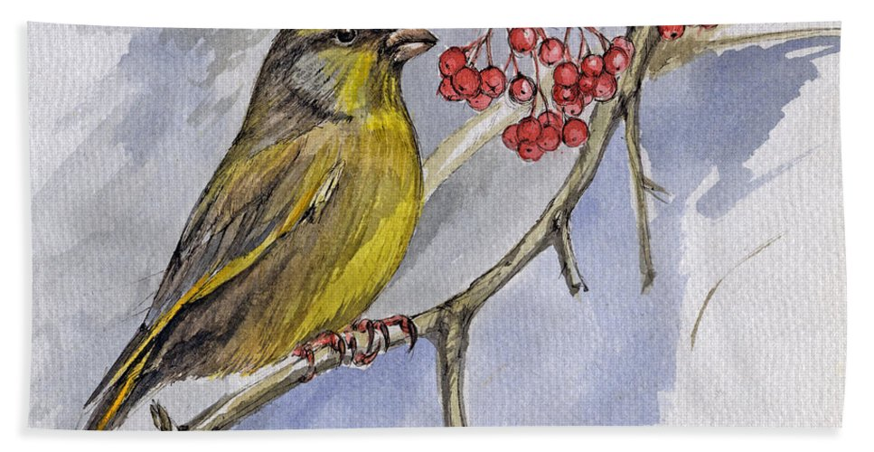 Greenfinch Bath Towel featuring the painting The Greenfinch by Angel Ciesniarska