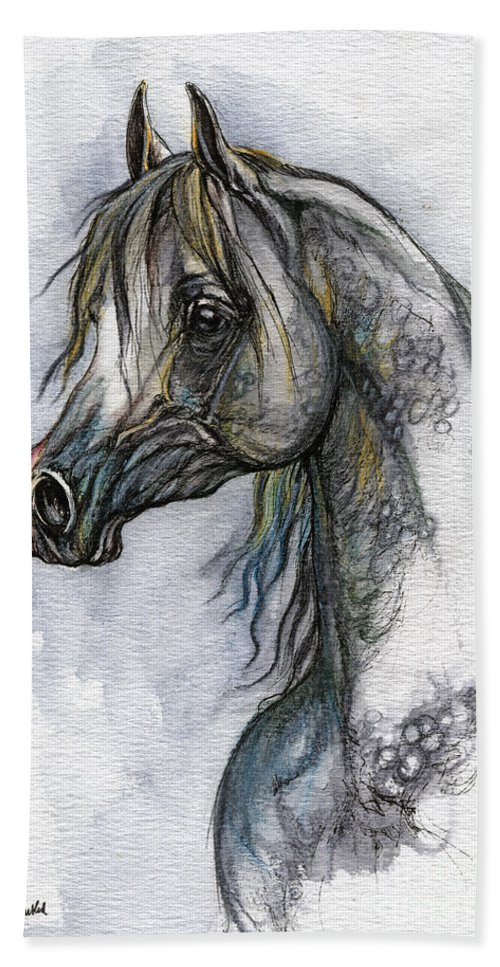 Watercolor Hand Towel featuring the painting The Grey Arabian Horse 10 by Angel Ciesniarska