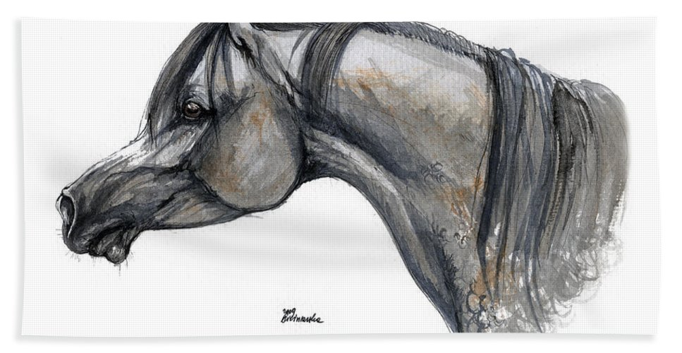 Horse Hand Towel featuring the painting The Grey Arabian Horse 11 by Angel Tarantella