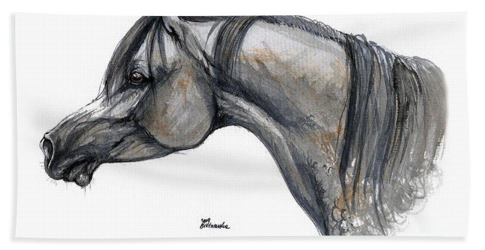 Horse Bath Towel featuring the painting The Grey Arabian Horse 11 by Angel Tarantella