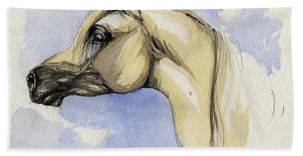 Arabian Hand Towel featuring the painting The Grey Arabian Horse 12 by Angel Ciesniarska