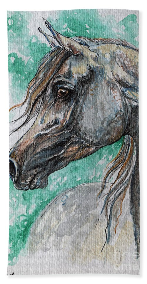 Horse Bath Sheet featuring the painting The Grey Arabian Horse 13 by Angel Ciesniarska