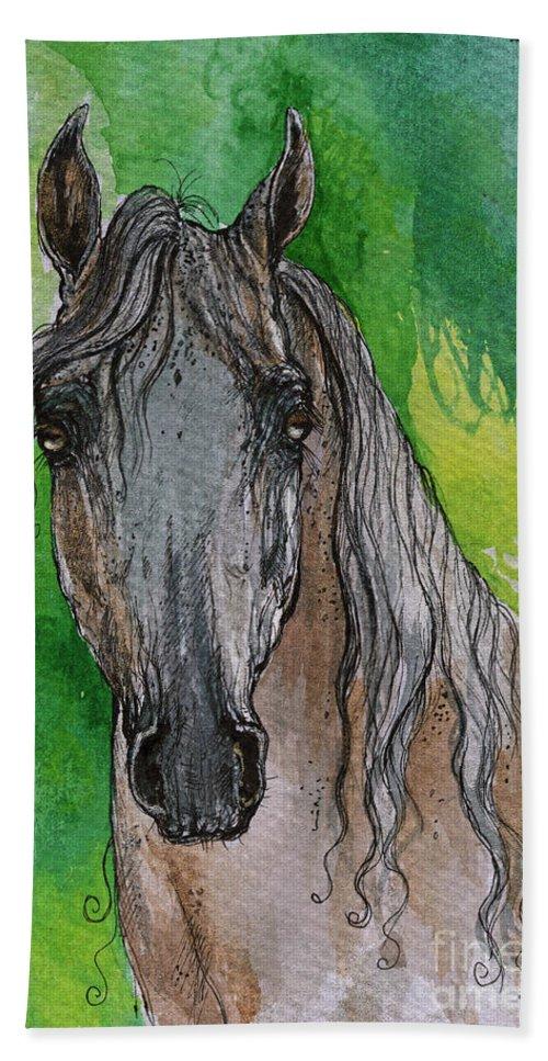 Bath Sheet featuring the painting The Grey Arabian Horse 17 by Angel Ciesniarska