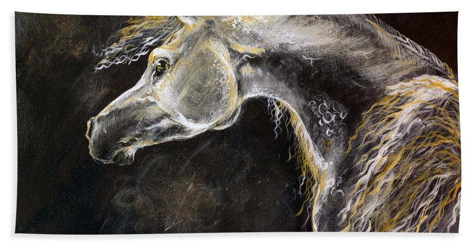 Horse Hand Towel featuring the painting The Grey Arabian Horse 9 by Angel Ciesniarska