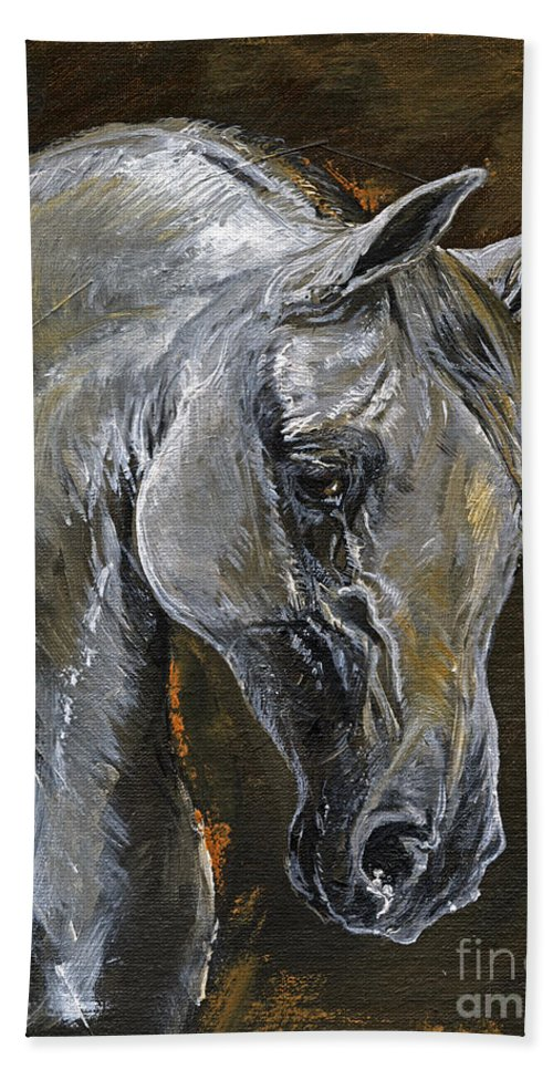 Grey Horse Hand Towel featuring the painting The Grey Arabian Horse Oil Painting by Angel Ciesniarska