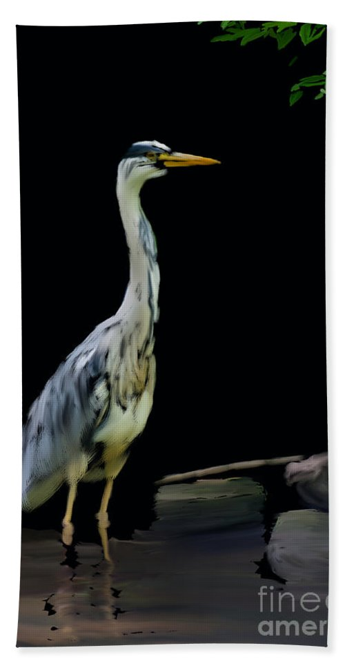 Grey Heron Ardea Cinerea Hand Towel featuring the digital art The Grey Heron by Brian Roscorla