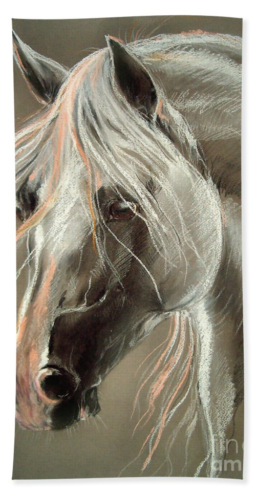 Pastel Bath Sheet featuring the drawing The Grey Horse Soft Pastel by Angel Ciesniarska