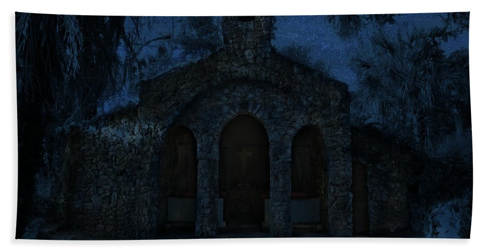 Phil Hand Towel featuring the photograph The Grotto By Moonlight by Phil Penne