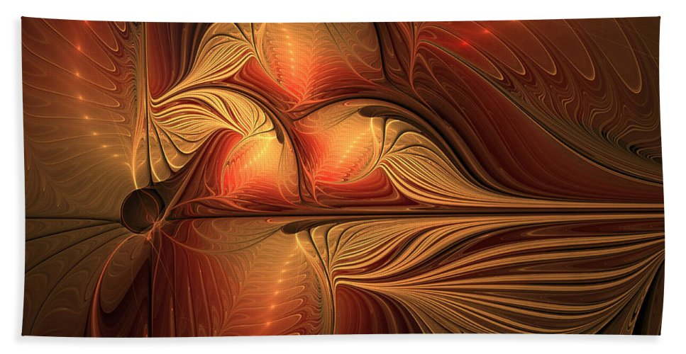Abstract Hand Towel featuring the digital art The Guardian Of Light by Gabiw Art