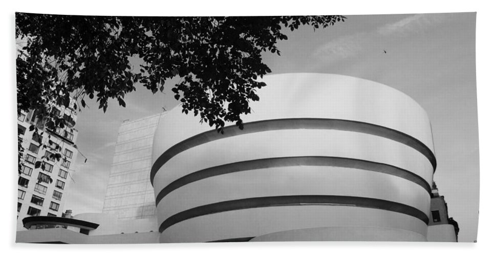 Scenic Hand Towel featuring the photograph The Guggenheim Museum In Black And White by Rob Hans