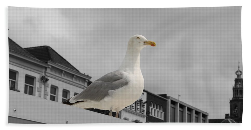 Gull Seagull Black White Bw Color Digital Art Town Roof Bird Animal Hand Towel featuring the photograph The Gull by Steve K