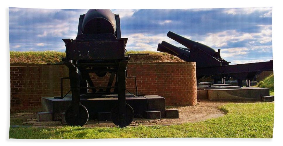 Fort Mc Henry Hand Towel featuring the photograph The Guns Of Fort Mc Henry by Chuck Hicks