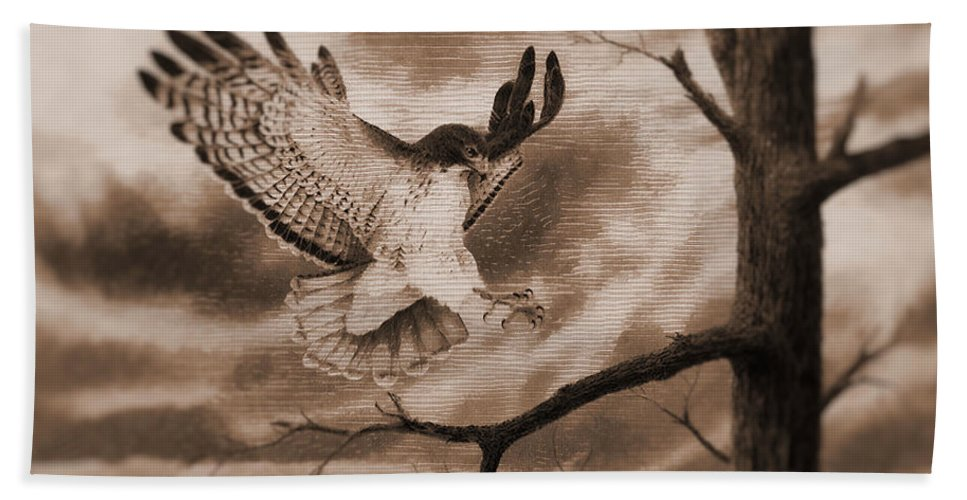 Wood Etch Hand Towel featuring the painting The Hawk Is Landing by Mario Carini