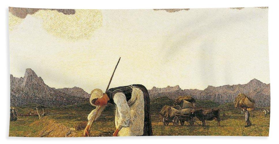 Painting; Europe; Italy; Segantini Giovanni; Farm Work; Farmer; Realism Bath Sheet featuring the painting The Hay Harvest by Giovanni Segantini