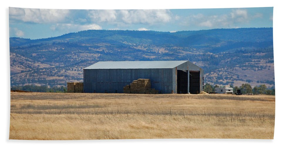 Hay Bath Sheet featuring the photograph The Hay Shed by Holly Blunkall
