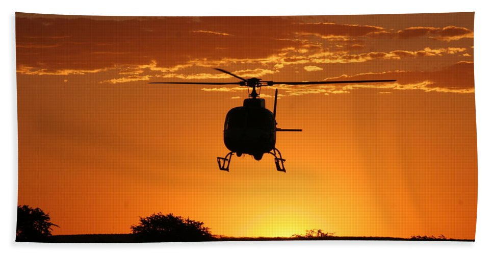 South African Police Air Wing Bath Sheet featuring the photograph The Helicopter by Paul Job