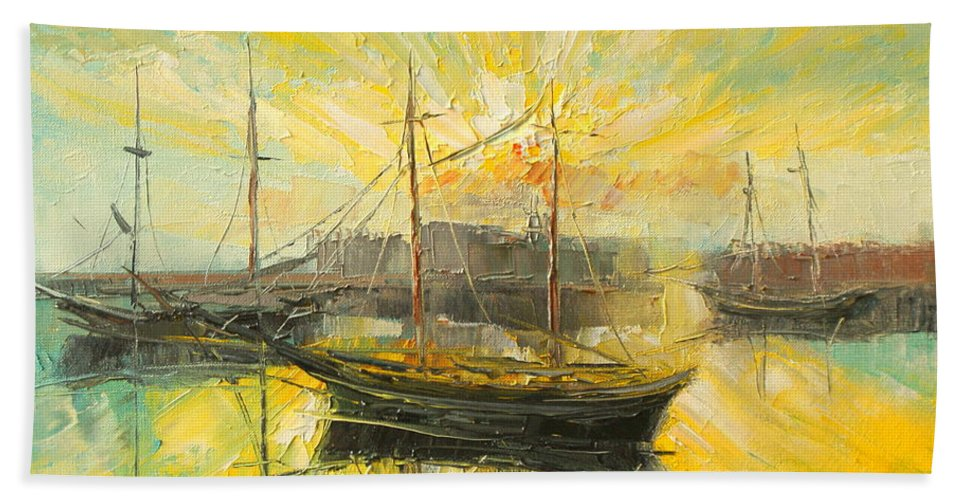 Heraklion Bath Sheet featuring the painting The Heraklion Harbour by Luke Karcz